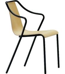 Krzesło OLA P CU z podłokietnikiem, stelaż wykonany z metalu malowany na kolor biały lub czarny. Siedzisko z oparciem tapicerowane w skórę...
