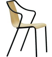 Krzesło z podłokietnikiem OLA P TS - stelaż metalowy, malowany na kolor biały lub czarny. Siedzisko i oparcie tapicerowane w duży wybór tkanin, eko...