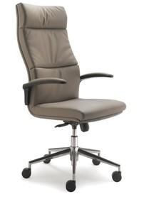 Bridge BG101 to fotel gabinetowy. Wyposażony w wysokie oparcie oraz lakierowany, stalowy stelaż. Posiada czarne podłokietniki PU z tapicerowanym wierzchem....