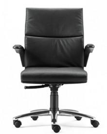 Bridge BG102 to fotel pracowniczy. Wyposażony w średnie oparcie oraz lakierowany, stalowy stelaż. Posiada czarne podłokietniki PU z tapicerowanym...