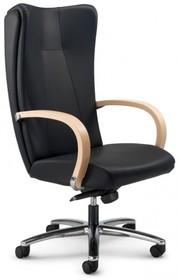 KIRIA KI161 to fotel gabinetowy. Wyposażony w wysokie oparcie. Posiada drewniane podłokietniki tapicerowane z wierzchu. Podstawa to pięcioramienny...