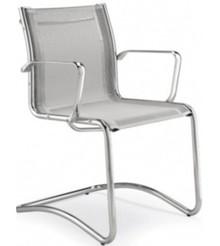 LUX LX604 to fotel konferencyjny. Posiada chromowane, aluminiowe podłokietniki, aluminiowy stelaż. Podstawa to płozy wykonane także z aluminium.<br...