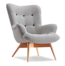 Fotel uszak pikowany FLORI - pepitka/buk