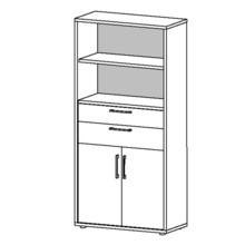 Regał z drzwiami i półkami PRIMA 2+1 - dąb sonoma