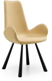 Fotel z podłokietnikami i wyższym oparciem FOREST od MIDJ posiada metalową podstawę, natomiast siedzisko i oparcie są tapicerowane.<br...