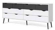 Komoda Oslo 4+4S w stylu retro - biały || czarny