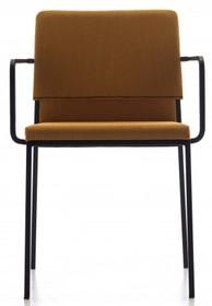 HAT posiada chromowaną lub lakierowaną metalową podstawę z czterema prostymi nogami. Oparcie i siedzisko jest tapicerowane tkaninami najwyższej jakości z...