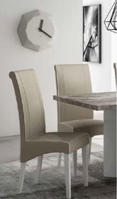 Krzesło TREVISO GREY, któregopodstawa wykonana zostałaz drewna i pomalowana na kolor biały. Oparcie i...