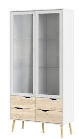 Witryna Oslo 2S4D w stylu retro - biały || dąb sonoma