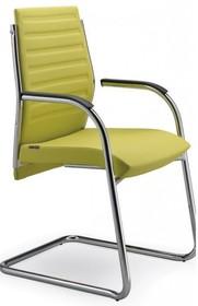 STEEL ST14 jest fotelem konferencyjnym. Wyposażony jest w niskie, tapicerowane oparcie. Chromowany stelaż z podłokietnikami. Podstawa to płozy, także...