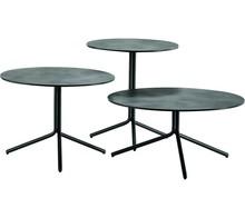 Okrągły stolik Trampoliere o wymiarze fi 70 cm, wysoki h 34cm, z podstawą metalową, dostępna w trzech kolorach - biały, czarny, grafit. Blat stołu...