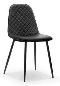 Krzesło pikowane SKAL - ekoskóra czarna
