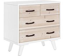 Drewniana komoda z czterema szufladami: dwiema krótkimi i dwiema dłuższymi. Komoda to mebel pochodzący z najnowszego katalogu Bizzotto....