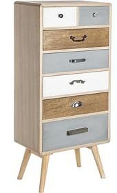 Oryginalna, drewniana komoda posiadająca siedem szuflad (dwie krótsze i pięć dłuższych) to mebel pochodzący z najnowszego katalogu Bizzotto.<br...