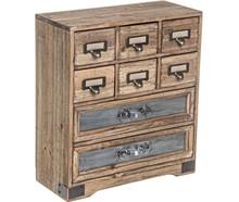 Nowoczesna, drewniana, mała komódka z ośmioma szufladami.<br />Struktura z metalu. Szuflady stworzone są z metalu, drewna sosnowego oraz...