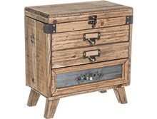 Nowoczesna, drewniana, mała komódka z trzema szufladami oraz jednymi drzwiami otwieranymi z góry. Stylowy i funkcjonalny mebel o niezwykłym...