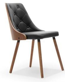 Eleganckie krzeslo z drewna i z ekoskóry MAGNUM orzech czarny