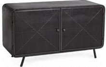 Nowoczesna, niska szafka w kolorze antracytu posiadająca dwoje drzwi, to produkt pochodzący z najnowszej kolekcji mebli industrialnych Bizzotto.<br...