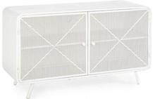 Nowoczesna, niska szafka w kolorze białym posiadająca dwoje drzwi, to produkt pochodzący z najnowszej kolekcji mebli industrialnych Bizzotto.<br...