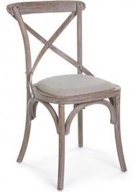 Stylizowane krzesło vintage w kolorze naturalnego drewna.<br />Struktura krzesła wykonana z drewna brzozy. Siedzisko pokryte w 50% tkaniną...