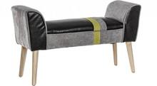 Patchworkowa ławka tapicerowana pochodząca z najnowszego katalogu Bizzotto.<br /><br />Struktura z litego drewna i sklejki, nogi z drewna...