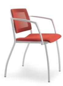MULTY ML031NC to krzesło konferencyjne z jasną ramą, nie posiadające podłokietników. Czteronożne krzesło z tylną osłoną oparcia wykonaną z...
