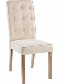 Stylowe, tapicerowane, beżowe krzesło FLO.<br />Struktura z litego drewna i sklejki, nogi z drewna sosnowego. Tkanina tapicerska: 36% poliester, 26%...