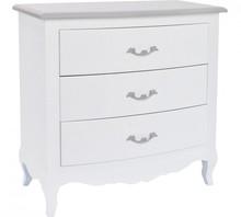 Komoda SYR posiada trzy szuflady.<br />Meble z kolekcji romantycznej posiadają nóżki wykonane z drewna jodłowego. Półki, panele oraz...