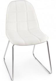Pikowane krzesło JOL w kolorze białym pochodzące z najnowszego katalogu Bizzotto.<br />Krzesło posiada metalowy, chromowany stelaż zakończony...