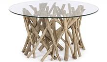 Oryginalny, okrągły stolik SAH. Mebel pochodzi z najnowszego katalogu Bizzotto.<br />Stolik posiada strukturę z bielonych gałęzi drzewa tekowego z...