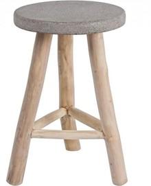 Klasyczny taboret R pochodzący z najnowszego katalogu Bizzotto.<br />Taboret posiada podstawę z drewna tekowego, oraz siedzenie stworzone z...
