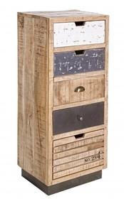 Stylizowana, oryginalna komoda TUD pochodzi z najnowszego katalogu Bizzotto.<br />Komoda posiada pięć szuflad.<br />Struktura wykonana z drewna...