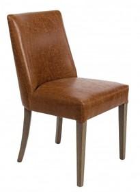 Tapicerowane krzesło vintage BEAT o klasycznym designie.<br />Struktura wykonana z drewna dębowego, tapicerowane sztuczną skórą z delikatnymi...