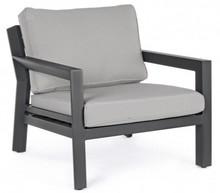 Piękny, stylowy fotel ogrodowy Q CHARCOAL.<br />Ramy wykonane z aluminium proszkowanego. Ściągane poduszki tapicerowane tkaniną SUNPROOF olefin (100%...
