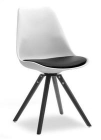 Krzesło obrotowe do jadalni LUIS ROT - czarny/biały
