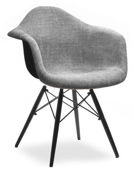 Krzesło Kubełkowe Do Jadalni Mpa Wood Tap Szare Glamour Czarny