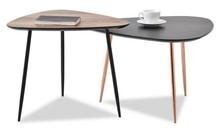 Komplet 2 stolików kawowych ROSIN XL+S - czarny/orzech