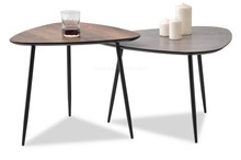 Zestaw 2 stolików ROSIN XL+S - surowy beton/orzech