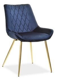 Krzesło welurowe ADEL - granatowy/zloty