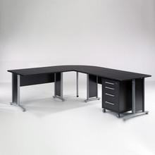 Biurko narożne PRIMA 230x200 z kontenerkiem - czarny