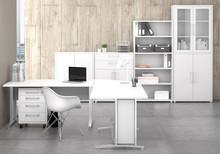 Zestaw mebli do biura PRIMA 3 - biały/szary