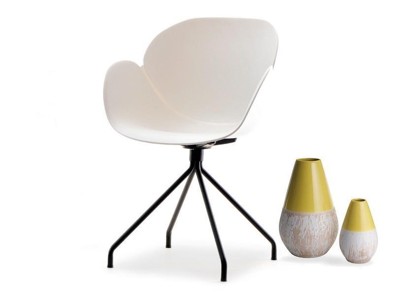Nowoczesne krzesło z podłkietnikami SWAN ROD białe Mebel
