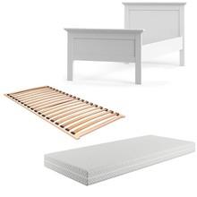 Łóżko PARIS 90x200 z materacem i stelażem - biały mat