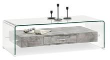 Ława szklana z szufladami OPAL - beton