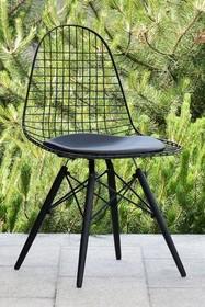 Krzesło metalowe MPC WIRE WOOD - chrom/czarny