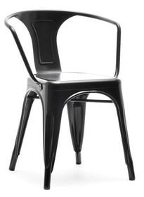 Krzesło metalowe z podłokietnikami ALFREDO 2 - czarny perłowy