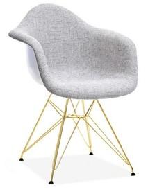Krzesło tapicerowane MPA ROD TAP - szary/złoty