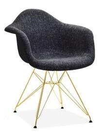 Krzesło tapicerowane MPA ROD TAP - czarny glamour/złoty