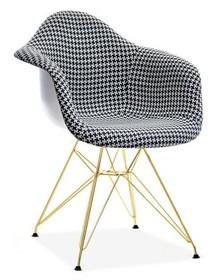 Krzesło tapicerowane MPA ROD TAP - pepitka/złoty