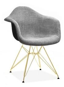 Krzesło tapicerowane MPA ROD TAP - szary glamour/złoty